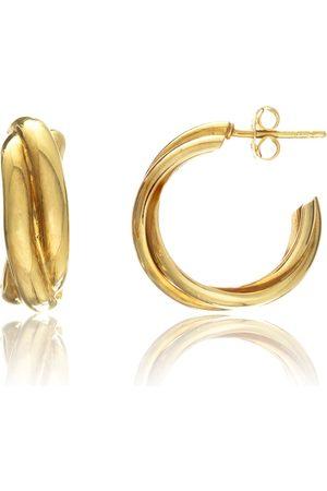 Women's Rose Gold Gold Vermeil Knightsbridge Yellow Triple Hoop Earrings Auree Jewellery