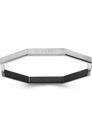 Men Bracelets - Men's Black Stainless Steel Okto Bangle Man /Silver - M KLASSE14