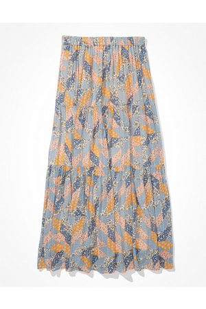 AE Printed Tiered Maxi Skirt Women's XXS
