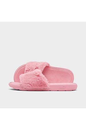 Puma Girls' Little Kids' Cool Cat Fluffy Slide Sandals in Pink/Peony Size 1.0 Fur