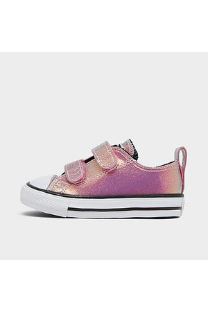 Converse Casual Shoes - Girls' Toddler Iridescent Glitter Chuck Taylor 2V Hook-and-Loop Casual Shoes in Pink/Magic Flamingo Size 4.0