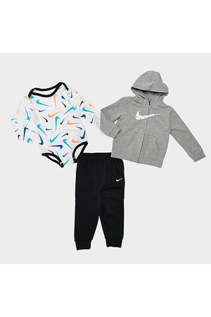 Nike Boys' Infant Swooshfetti Parade Full-Zip Hoodie, Jogger Pants and Long-Sleeve Bodysuit Set (3-Piece) in /Grey/ Size 12 Month Cotton/Fleece