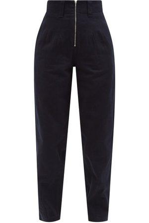 Jil Sander Exposed-zip High-rise Tapered-leg Jeans - Womens - Dark