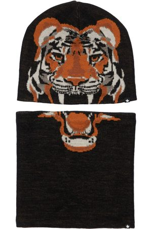 MOLO Boys Hats - Tiger Wool Blend Knit Hat & Neck Warmer