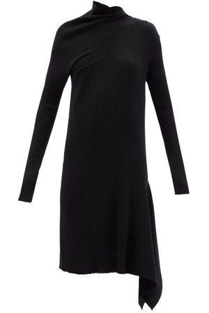 MARQUES'ALMEIDA Women Asymmetrical Dresses - Asymmetric Merino-wool Knitted Midi Dress - Womens