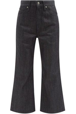 Jil Sander High-rise Flared-leg Cropped Jeans - Womens - Dark