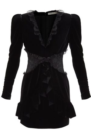 Alessandra Rich Lace-trimmed V-neck Velvet Mini Dress - Womens