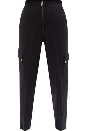 Jil Sander Women Cargo Pants - Tapered Brushed-wool Cargo Track Pants - Womens - Dark