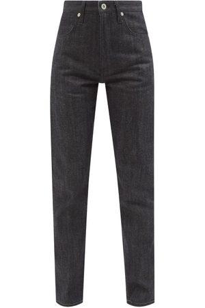 Jil Sander Women High Waisted - Embroidered-patch High-rise Slim-leg Jeans - Womens - Dark