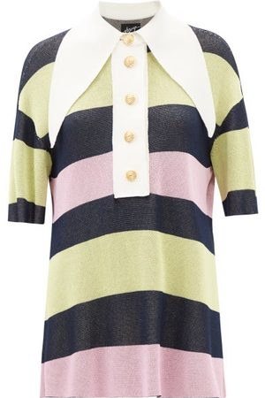 Elzinga Exaggerated-collar Striped Jersey Mini Dress - Womens - Multi