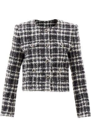 Alessandra Rich Checked Tweed Jacket - Womens