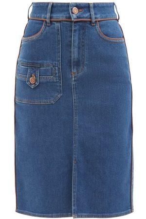 See By Chloé Women Denim Skirts - Contrast-piping Denim Skirt - Womens - Mid Denim
