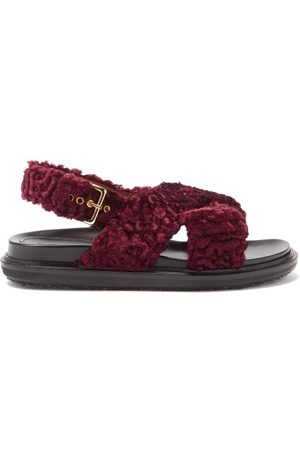 Marni Fussbett Faux-shearling And Leather Sandals - Womens - Burgundy