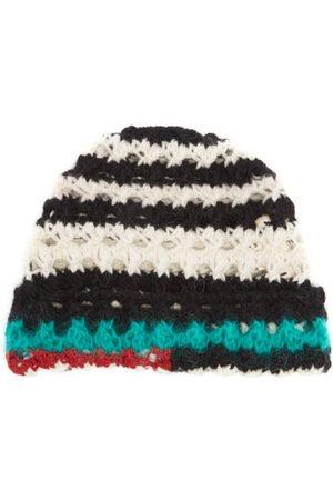 Marni Men Beanies - Striped Crocheted Beanie Hat - Mens - Multi