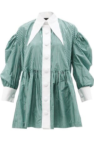 Elzinga Exaggerated-collar Gingham-silk Babydoll Dress - Womens - Multi