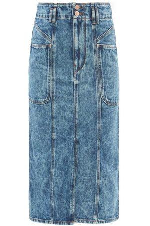 Isabel Marant Women Midi Skirts - Toria Front-slit Denim Midi Skirt - Womens - Mid Denim