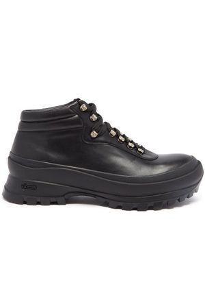 Jil Sander Men Outdoor Shoes - Vibram-sole Leather Hiking Boots - Mens
