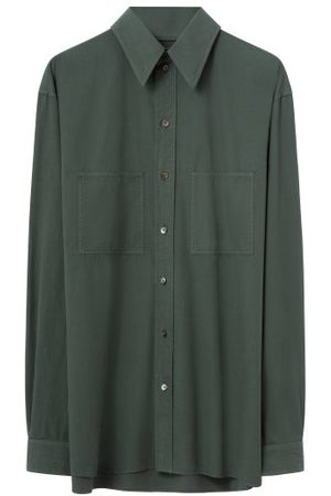 LEMAIRE Patch-pocket Poplin Shirt - Mens - Dark