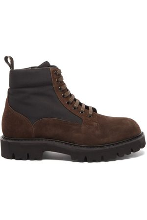 Paul Smith Men Ankle Boots - Dizzie Chunky-sole Canvas And Suede Ankle Boots - Mens - Dark