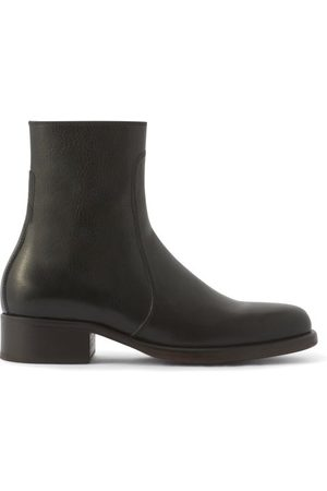 LEMAIRE Topstitched Leather Ankle Boots - Mens