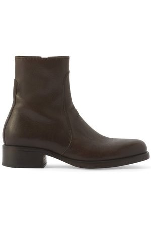 Lemaire Topstitched Leather Ankle Boots - Mens - Dark