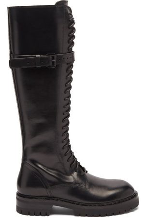 ANN DEMEULEMEESTER Alex Lace-up Leather Flat Knee Boots - Womens