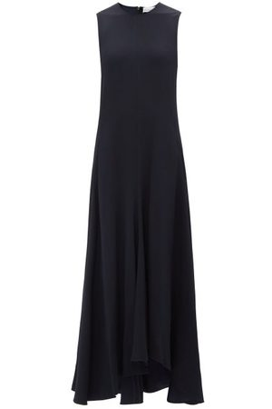 Raey Sleeveless Crepe Midi Dress - Womens - Dark Navy