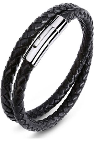 Black Stainless Steel Mens Leather Double Plaited Bracelet With Silver Clasp N'Damus London