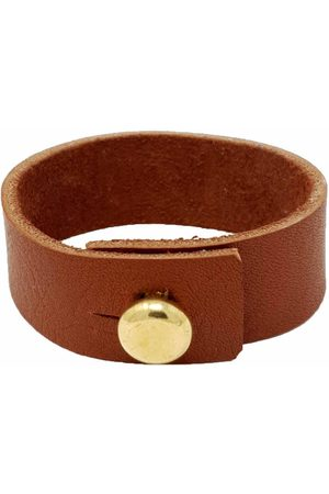 Men Bracelets - Brown Brass Mens Tan Leather Bracelet With Large Button N'Damus London