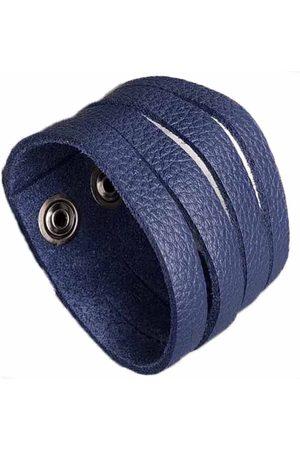 Men Bracelets - Blue Leather Mens Wide Multiple Slit Cuff Bracelet N'Damus London