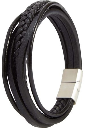 Black Leather Mens 5 Strap Braided Bracelet With Silver Clasp N'Damus London