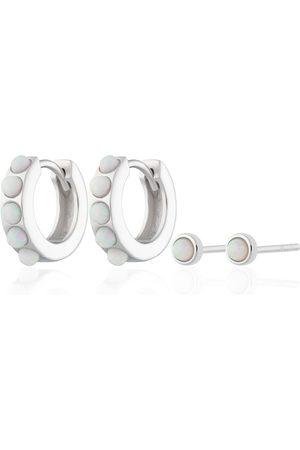 Women's Low-Impact White Rhodium Silver Opal Huggie & Tiny Stud Set Of Earrings Scream Pretty