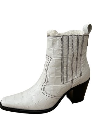 Ganni Women Ankle Boots - Leather western boots