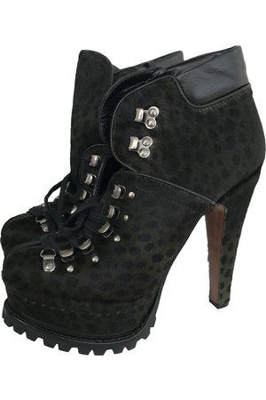 Alaïa Pony-style calfskin lace up boots
