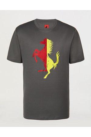 FERRARI STORE Men Short Sleeve - Men's cotton T-shirt with oversized Prancing Horse