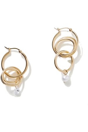 COMPLETEDWORKS Gold-plated, pearl and zirconia hoop earrings