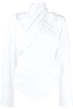 MUGLER Halterneck Gathered Shirt