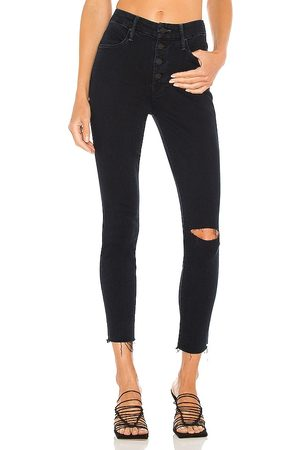 MOTHER The Pixie Ankle Fray Jean in Black.