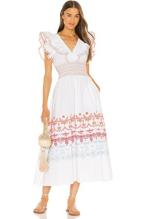 Something Navy Natalie Smocked Floral Midi Dress in .