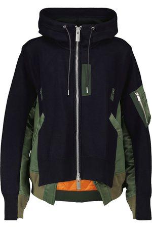 sacai Hooded cotton-blend bomber jacket