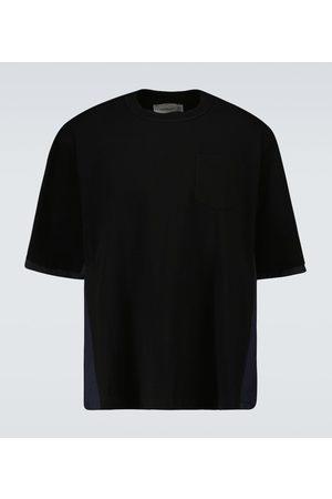 sacai Technical short-sleeved cotton T-shirt