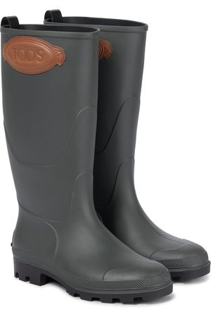 Tod's Leather-trimmed rubber rain boots