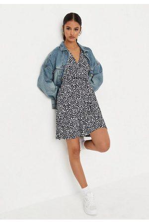 Missguided Navy Dalmatian Print Wrap Front Mini Dress