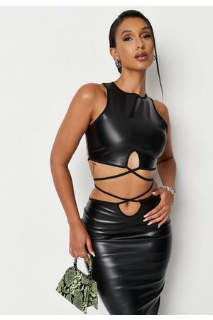 Missguided Faux Leather Wrap Around Racer Tank Top