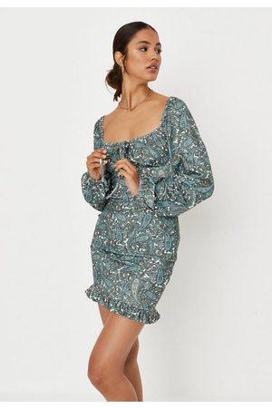 Missguided Paisley Print Balloon Sleeve Mini Dress