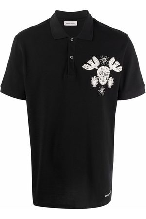 Alexander McQueen Papercut Skull Embroidered Polo Shirt