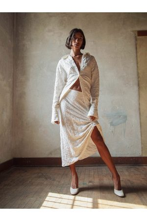 The Line By K Women Midi Skirts - The Anubis Skirt in Crema