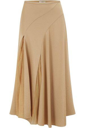 Vince Women Asymmetrical Skirts - Asymmetric Paneled Skirt in Chamois UK 8
