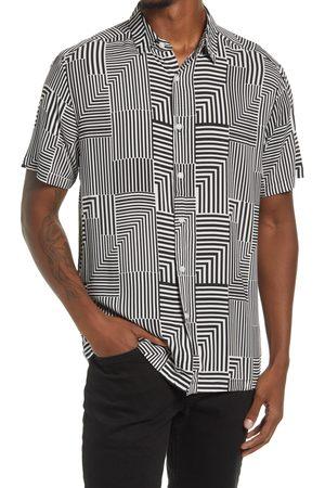 Topman Men's Short Sleeve Button-Up Shirt