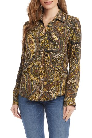 Karen Kane Women's Paisley Button-Up Shirt